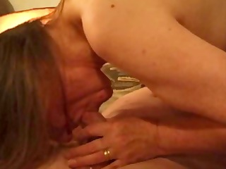 Old German mature rides his cock and gets pounded