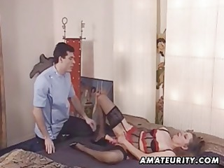 Mature amateur wife toys her ass and gets anal