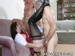 Aged nylons bawdy cleft drilled and fingered