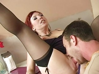 Stunning busty brunette milf sucking cock and