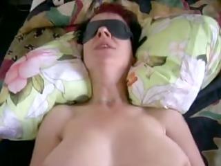 German milf amateur eating cum