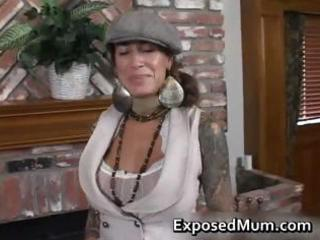 Round bigtits tattooed mom fireplace part3