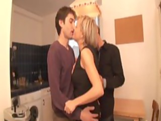 Alicia, blonde mature fucked in a threesome
