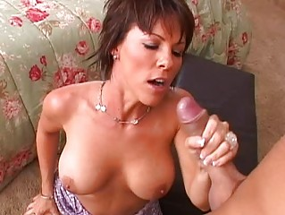 Stunning busty brunette milf getting her pussy