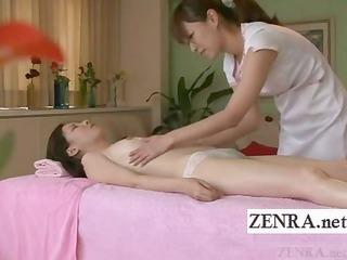 Subtitled Japanese milf lesbian oil massage
