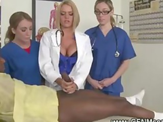 Naughty doctors lesson for two new sluts