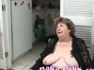 Horny grandma sucking stiff white cock