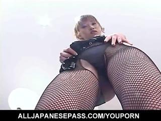 orny Japanese AV model strips out of her slutty