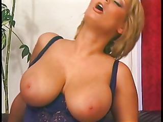 Blonde mom with perfect jugs pumped on a leather
