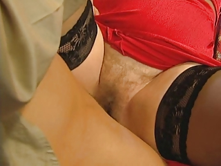 Grandmas Hairy Pussy Is Open For Her Young Lover