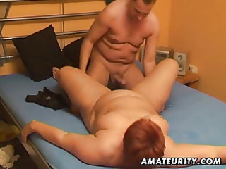 Chubby amateur wife sucks and fucks with cum in