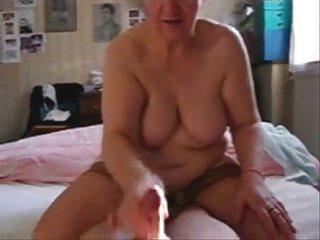 My slut mature aunt jerking my cock