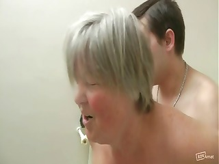 Chubby granny gets some gangbang action from her