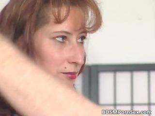 Weird BDSM play where brunette mom