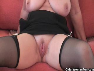 Impressive grandma in nylons shows her large