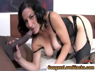 Lingerie milf sucks big cock
