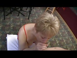 Nice mature slut sucks off a guy