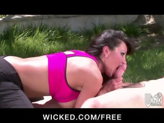 Big-tit brunette cougar rides her yoga