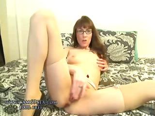 Real amateur milf wife masturbating in stockings