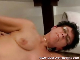 Pierced granny MILF fucking younger guy pussy