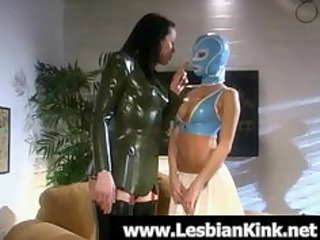 Lesbians in rubber clothes spanking asses