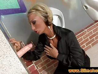Blonde milf secretary at the gloryhole
