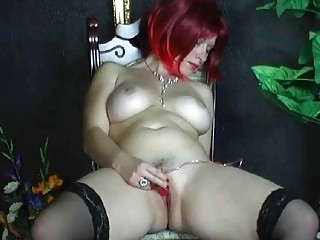 Busty amateur wife toying her shaved pussy at home