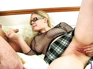 Chubby blonde milf with glasses gets slammed