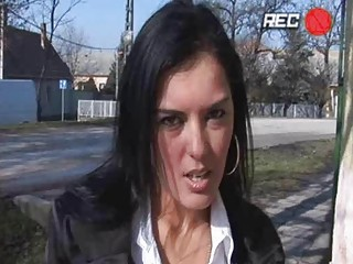Heavy chested brunette momma gets fucked in public