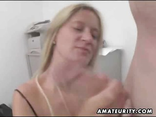 Busty Amateur Secretary Gives Head With Facial