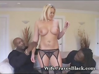Busty, blonde MILF in hot threesome with two big