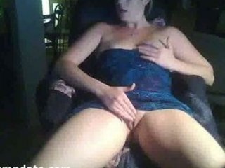 Hot blonde MILF masturbates on webcam
