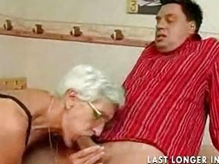 Insatiable granny just loves cock