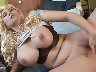 Big boobed mother playing with her old pussy