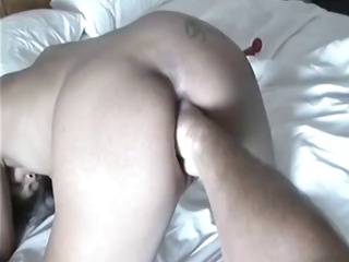 This guys wife gets his fist in her pussy before