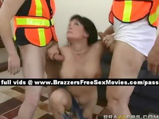 Teen brunette girl on the couch with two workers