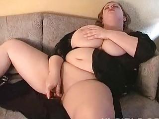 Hot big breasted MILF fatty masturbates on the