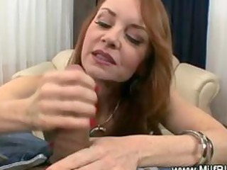 Hungry big titted milf sucks cock