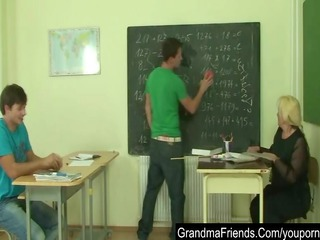 Nasty old teacher is nailed by two young students