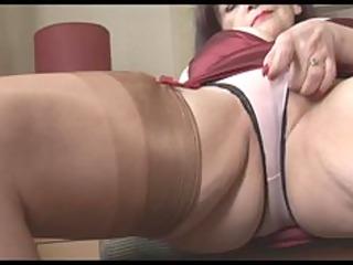 Big tits mature milf shows off sheer panties and