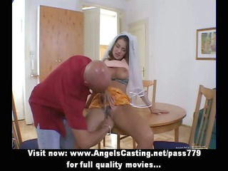 Little brunette bride does blowjob and has pussy
