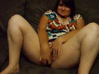 chubby wife joanne dildoing and spreading pussy
