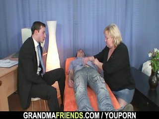 Granny gives double blowjob then doggystyled