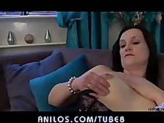 First time housewife plays with her thick pussy