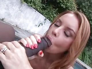 Heavy chested redhead momma sucks huge black