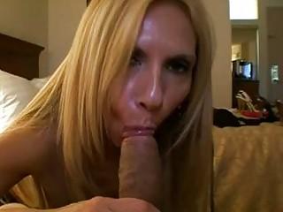 Busty blonde momma in stockings sucks huge knob