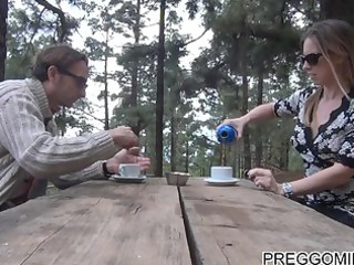 lactating amateur MILF outdoor teaparty