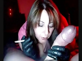 Hot MILF in Gloves Smoking Jerking and Sucking