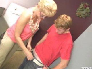 Girlfriends mom wants to clean his cock with her