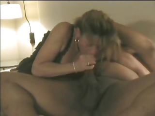 White MILF fucks Fat Albert and friend